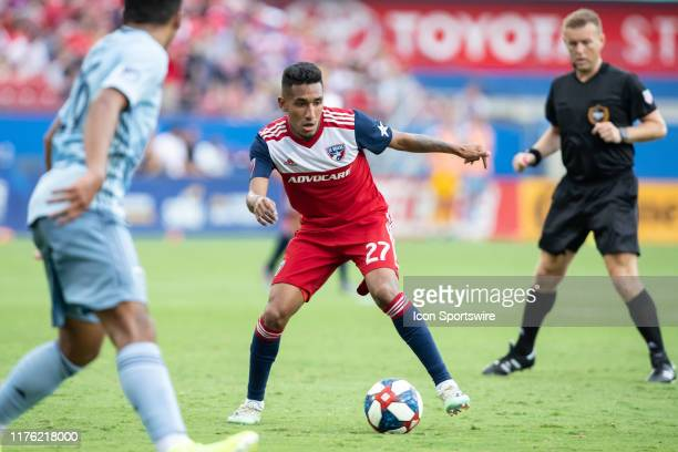 Dallas forward Jesus Ferreira prepares to pass the ball during the MLS soccer game between FC Dallas and Sporting Kansas City on October 06 at Toyota...