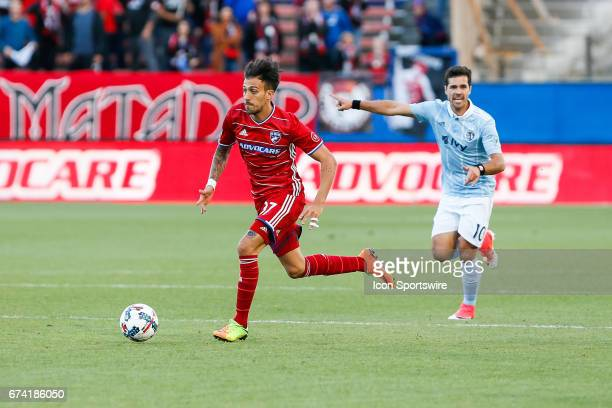 Dallas forward Maximiliano Urruti dribbles into the offensive zone during the MLS match between Sporting KC and FC Dallas on April 22 2017 at Toyota...