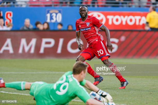 Dallas forward Roland Lamah has his shot saved by Sporting Kansas City goalkeeper Tim Melia during the MLS match between Sporting KC and FC Dallas on...