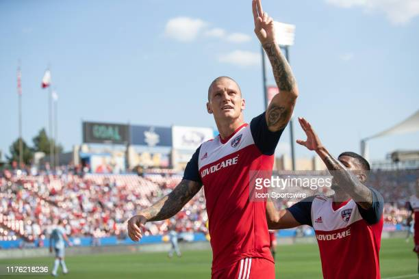 Dallas forward Zdenek Ondrasek celebrates after scoring a goal during the MLS soccer game between FC Dallas and Sporting Kansas City on October 06 at...