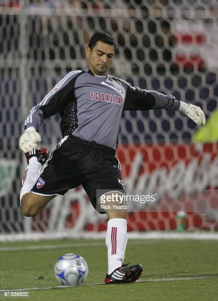 Dallas goalkeeper Dario Sala kicks the ball down field during the match against the Houston Dynamo on May 24, 2008 at Pizza Hut Park in Frisco,...