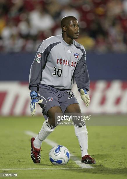 Dallas goalkeeper Ray Burse looks to pass the ball out of the box during the FC Dallas game with Chivas USA on October 11 2007 at Pizza Hut Park in...