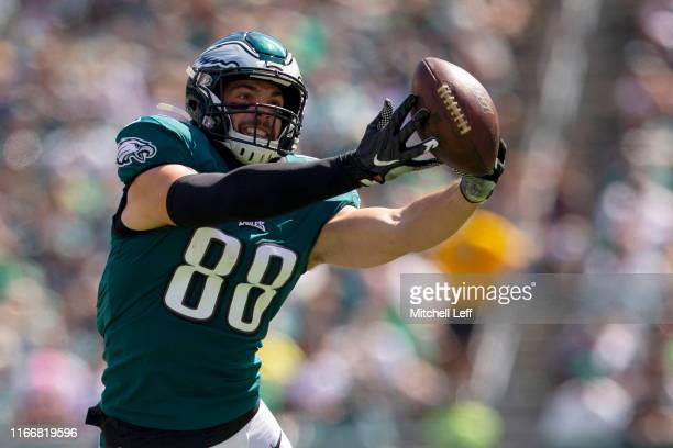 Dallas Goedert of the Philadelphia Eagles cannot make a catch in the second quarter against the Washington Redskins at Lincoln Financial Field on...