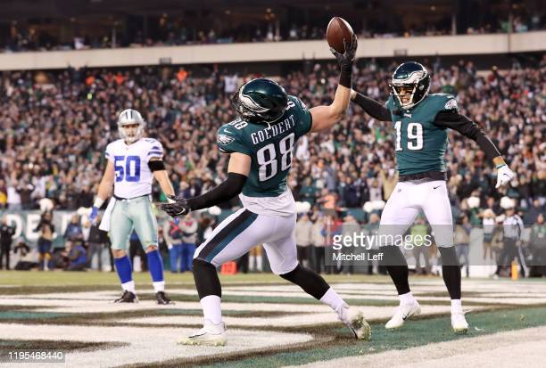 Dallas Goedert of the Philadelphia Eagles celebrates after scoring a touchdown during the first quarter against the Dallas Cowboys in the game at...