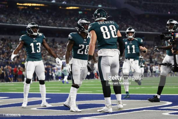 Dallas Goedert of the Philadelphia Eagles celebrates scoring a touchdown during the first quarter against the Dallas Cowboys in the game at ATT...