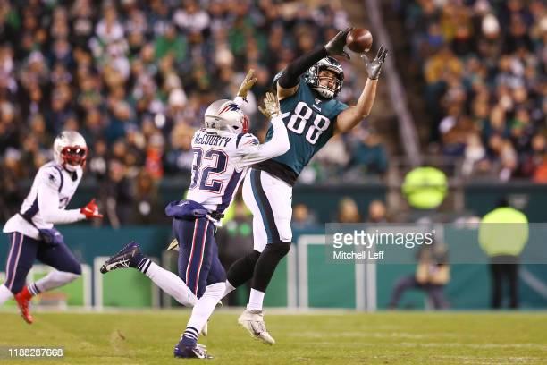 Dallas Goedert of the Philadelphia Eagles is unable to make a reception during the second half against the New England Patriots at Lincoln Financial...