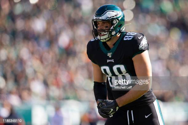 Dallas Goedert of the Philadelphia Eagles looks on against the Chicago Bears at Lincoln Financial Field on November 3 2019 in Philadelphia...
