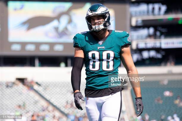 Dallas Goedert of the Philadelphia Eagles looks on prior to the game against the Detroit Lions at Lincoln Financial Field on September 22 2019 in...