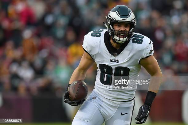 Dallas Goedert of the Philadelphia Eagles runs against the Washington Redskins during the first half at FedExField on December 30 2018 in Landover...