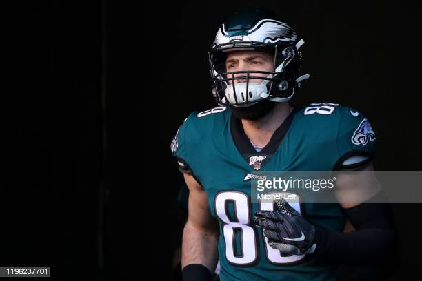 Dallas Goedert of the Philadelphia Eagles runs onto the field prior to the game against the Dallas Cowboys at Lincoln Financial Field on December 22...
