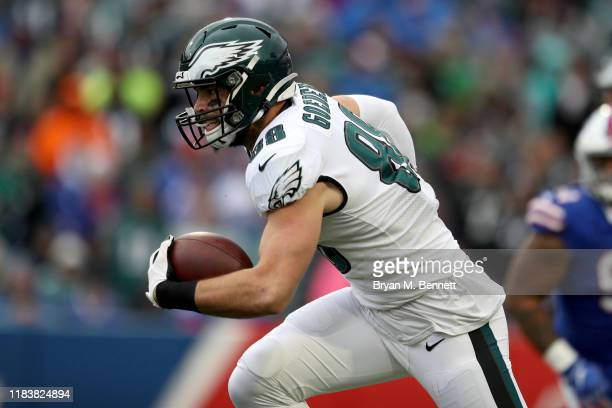 Dallas Goedert of the Philadelphia Eagles runs the ball during the second quarter of an NFL game against the Buffalo Bills at New Era Field on...