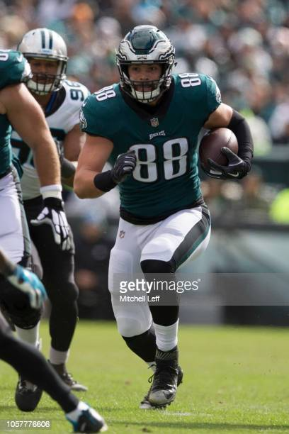 Dallas Goedert of the Philadelphia Eagles runs with the ball against the Carolina Panthers at Lincoln Financial Field on October 21 2018 in...