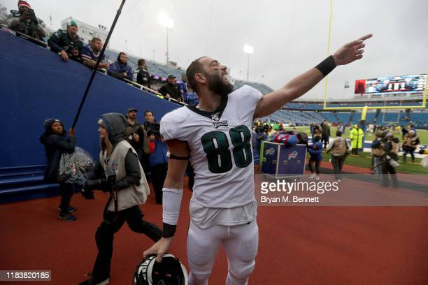 Dallas Goedert of the Philadelphia Eagles signals to a fan after an NFL game against the Buffalo Bills at New Era Field on October 27 2019 in Orchard...