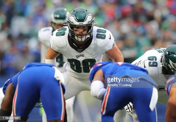 Dallas Goedert of the Philadelphia Eagles waits for the snap against the Buffalo Bills at New Era Field on October 27 2019 in Orchard Park New York...