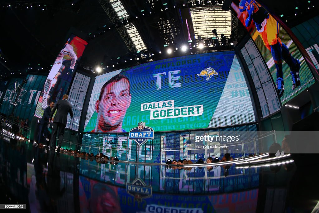 Dallas Goedert on the video screen after being chosen by the Philadelphia Eagles with the 49th pick during the second round of the 2018 NFL Draft on April 27, 2018, at AT&T Stadium in Arlington, TX.