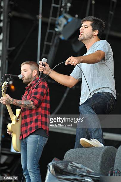 Dallas Green and George Petit of Alexisonfire perform on stage on Day 1 of the Reading Festival 2009 on August 28 2009 in Reading England
