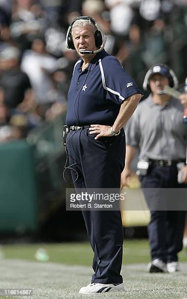 Dallas head coach Bill Parcells watches the game from the sidelines as the Oakland Raiders defeated the Dallas Cowboys by a score of 19 to 13 at...