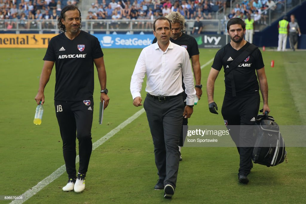 FC Dallas head coach Oscar Pereja and his assistant coaches before an MLS match between FC Dallas and Sporting Kansas City on August 19th, 2017 at Children's Mercy Park in Kansas City, KS.