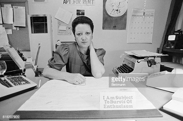 In her neat and well organized office Norma McCorvey sits behind her desk with a sign out front that says I Am Subject To Bursts OF Enthusiasm