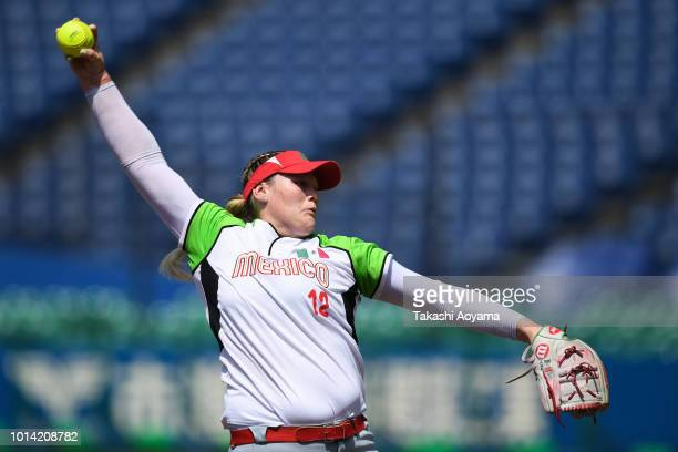 Dallas Jade Escobedo Gosch of Mexico pitches against Italy during their Playoff Round at ZOZO Marine Stadium on day nine of the WBSC Women's Softball...