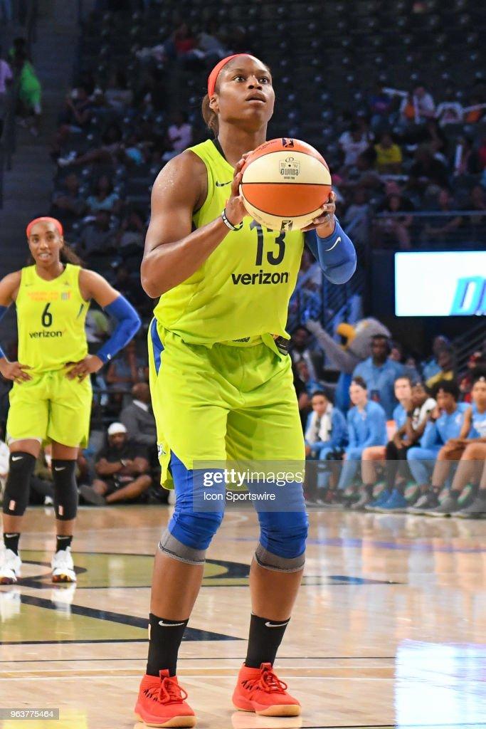 Dallas\' Karima Christmas-Kelly shoots a free throw during the WNBA ...
