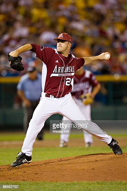 Dallas Keuchel of the Arkansas Razorbacks throws a pitch against the Virginia Cavaliers at the College World Series on June 17 2009 at Rosenblatt...