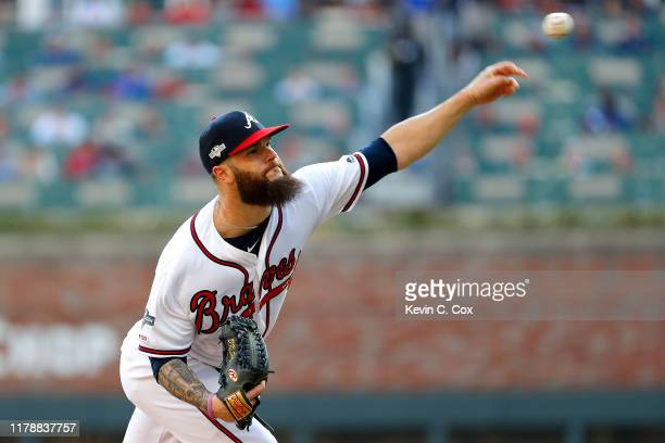 Dallas Keuchel of the Atlanta Braves delivers the pitch against the St Louis Cardinals during the first inning in game one of the National League...
