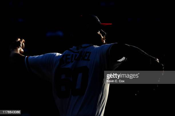 Dallas Keuchel of the Atlanta Braves delivers the pitch against the St Louis Cardinals during the second inning in game one of the National League...