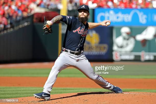 Dallas Keuchel of the Atlanta Braves delivers the pitch against the St Louis Cardinals during the second inning in game four of the National League...