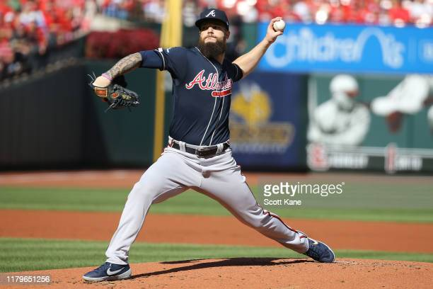 Dallas Keuchel of the Atlanta Braves delivers the pitch against the St Louis Cardinals during the first inning in game four of the National League...