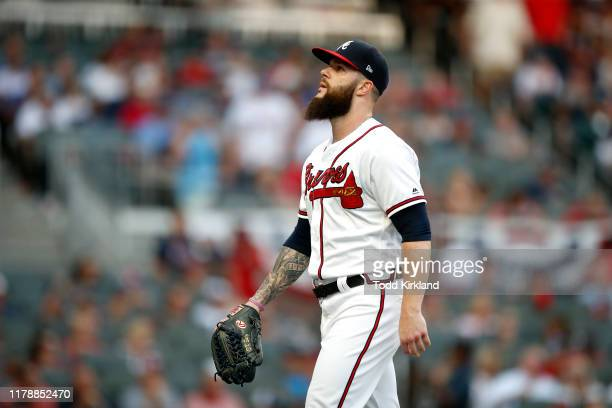 Dallas Keuchel of the Atlanta Braves is taken out of the game against the St Louis Cardinals during the fifth inning in game one of the National...