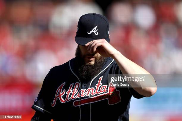 Dallas Keuchel of the Atlanta Braves is taken out of the game against the St Louis Cardinals during the fourth inning in game four of the National...