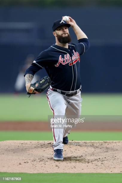 Dallas Keuchel of the Atlanta Braves pitches during a game against the San Diego Padres at PETCO Park on July 12, 2019 in San Diego, California.