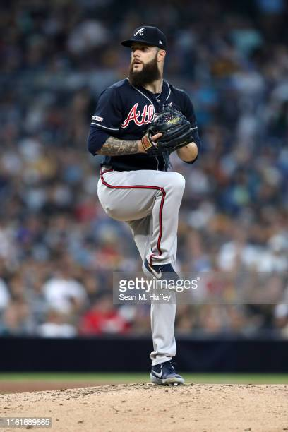 Dallas Keuchel of the Atlanta Braves pitches during the second inning of a game against the San Diego Padres at PETCO Park on July 12, 2019 in San...