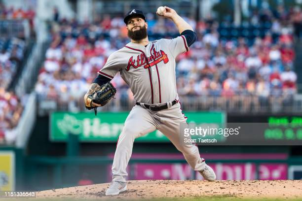 Dallas Keuchel of the Atlanta Braves pitches in his debut against the Washington Nationals during the first inning at Nationals Park on June 21 2019...