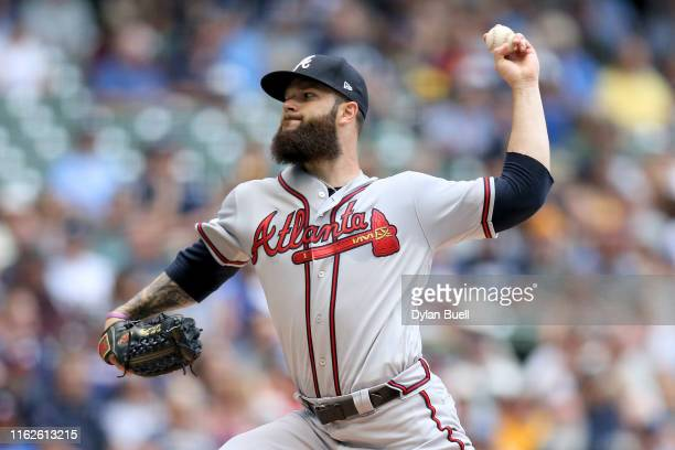 Dallas Keuchel of the Atlanta Braves pitches in the first inning against the Milwaukee Brewers at Miller Park on July 17 2019 in Milwaukee Wisconsin