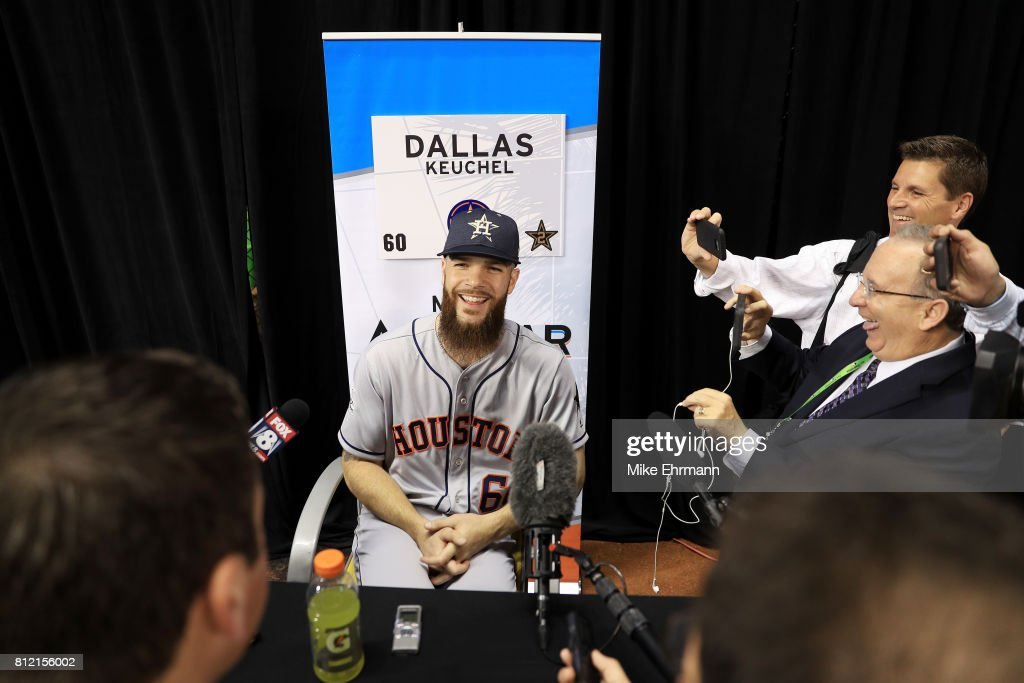 Dallas Keuchel #60 of the Houston Astros and the American League speaks with the media during Gatorade All-Star Workout Day ahead of the 88th MLB All-Star Game at Marlins Park on July 10, 2017 in Miami, Florida.