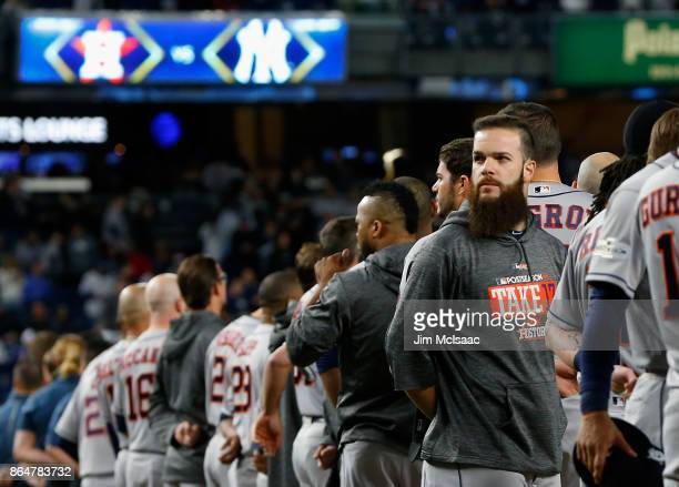 Dallas Keuchel of the Houston Astros looks on before Game Three of the American League Championship Series agains the New York Yankees at Yankee...