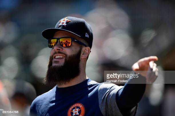Dallas Keuchel of the Houston Astros looks on during the game against the Minnesota Twins on May 31 2017 at Target Field in Minneapolis Minnesota The...