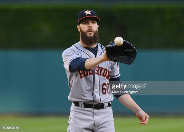 Dallas Keuchel of the Houston Astros looks on during the game against the Detroit Tigers at Comerica Park on July 28 2017 in Detroit Michigan The...
