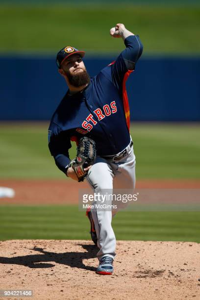 Dallas Keuchel of the Houston Astros pitches during a spring training game against the Washington Nationals at FITTEAM Ballpark on March 15 2018 in...