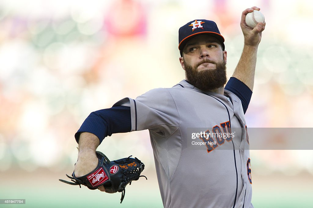 Dallas Keuchel #60 of the Houston Astros pitches during the first inning against the Texas Rangers on June 5, 2014 at Globe Life Park in Arlington in Arlington, Texas.