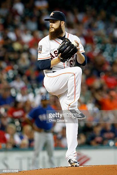 Dallas Keuchel of the Houston Astros pitches during the first inning against the Texas Rangers at Minute Maid Park on September 27 2015 in Houston...
