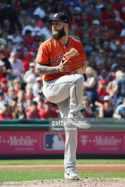 Dallas Keuchel of the Houston Astros pitches in the first inning against the Cleveland Indians during Game Three of the American League Division...