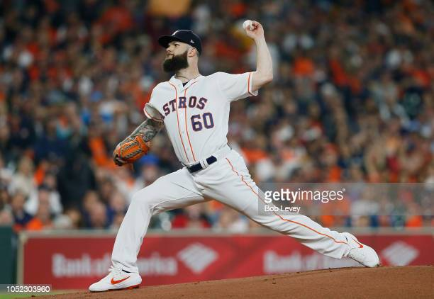 Dallas Keuchel of the Houston Astros pitches in the first inning against the Boston Red Sox during Game Three of the American League Championship...