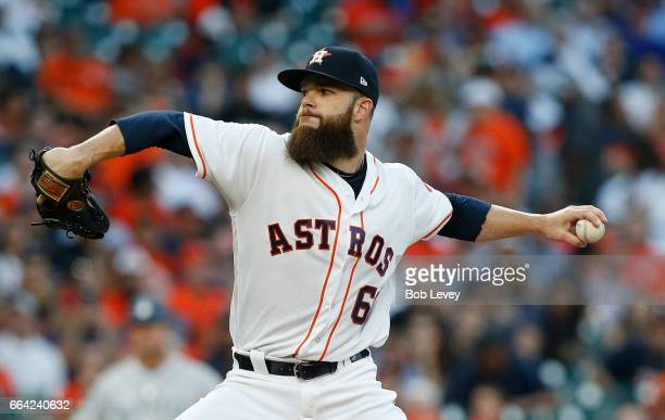 Dallas Keuchel of the Houston Astros pitches in the first inning against the Seattle Mariners on Opening Day at Minute Maid Park on April 3 2017 in...