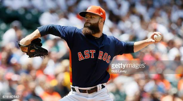 Dallas Keuchel of the Houston Astros pitches in the first inning against the Oakland Athletics at Minute Maid Park on April 30 2017 in Houston Texas