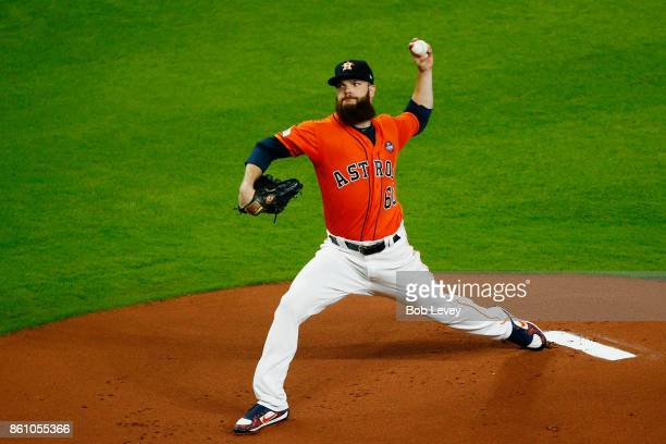 Dallas Keuchel of the Houston Astros pitches in the first inning against the New York Yankees during game one of the American League Championship...