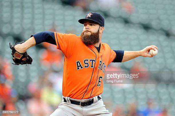 Dallas Keuchel of the Houston Astros pitches in the second inning against the Baltimore Orioles at Oriole Park at Camden Yards on August 21 2016 in...