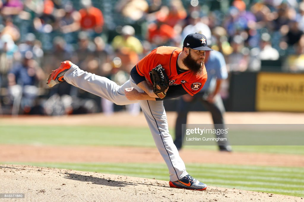 Dallas Keuchel #60 of the Houston Astros pitches in the second inning against the Oakland Athletics at Oakland Alameda Coliseum on September 10, 2017 in Oakland, California.